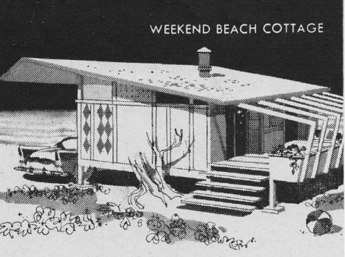 Mid-Century Weekend Beach Cottage 1958 | Douglas Fir Plywood Association Ad | Sunset Magazine Via
