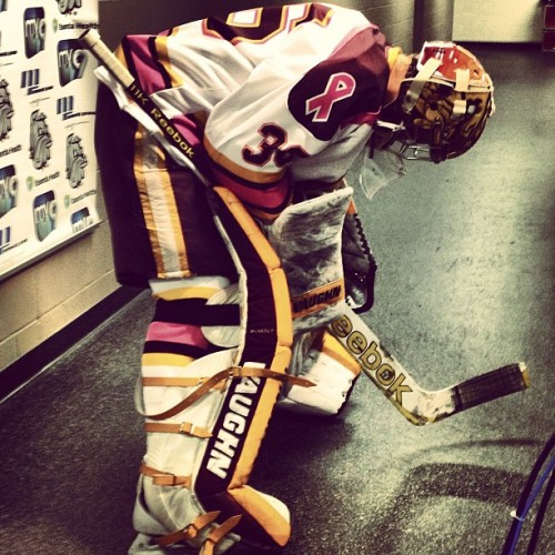 Shot of the night. #umdhockey #goalie
