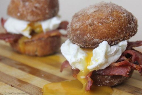 The Devil's Donut cinnamon donut w/ poached egg and bacon