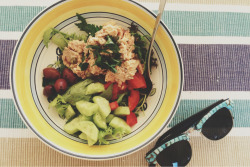 bellasbites:  Quick mid-week salad featuring homegrown Cucumber, Tomato and Parsley! Add some salad leaves and canned salmon, drizzle with lemon juice and olive oil, VOILA
