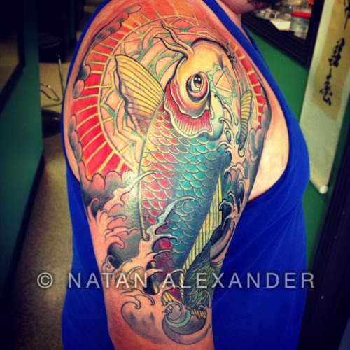 Koi by Natan Alexander of Witch City Ink (Salem, MA) and Lightwave Tattoo (Saugus, MA).