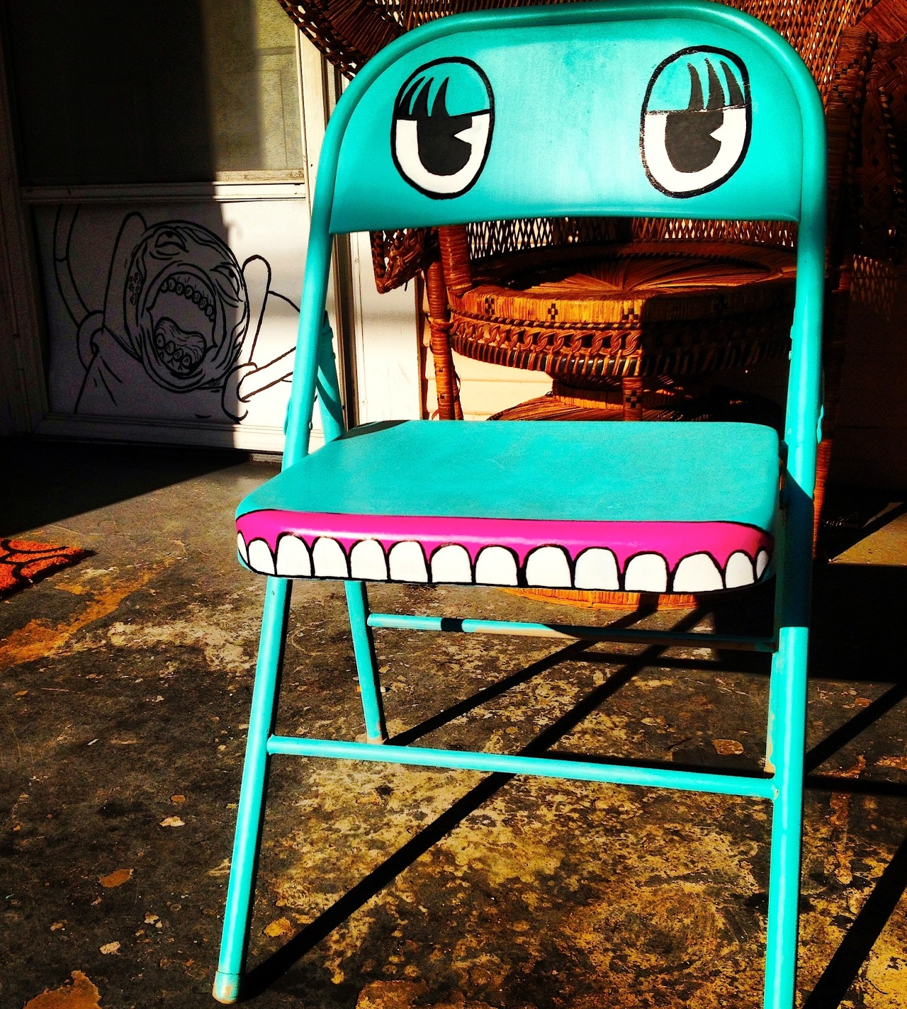 unfortunateface:  Acrylic on antique metal chair