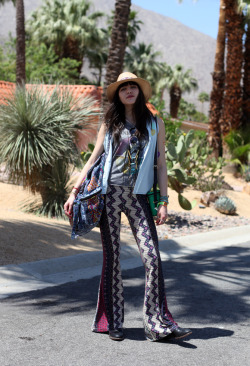 Coachella Street Style - Natalie of Natalie Off Duty, wearing FP's Border Print Bell pants. Source: Free People Blog