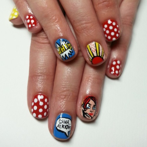 Ohhh… Alright. #Lichtenstein inspired nails. #nailart #popart #painting #nails #cute #style #fashion