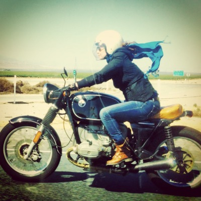Misty V. Whitten photographed on her 1977 BMW R-100/7 while riding to the Hooligan Hoedown hosted by Ventura's Iron & Resin.  [ more real women who ride | photos on the road ]