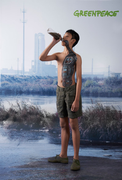 Water For Children. Greenpeace Body Painted Water Treatment Ad by Saatchi & Saatchi Saatchi & Saatchi China launched a great 'Water for Children' performance art piece for Greenpeace China, staged at the Shanghai 2nd Advertising Arts Exhibition. Artists painted water treatment units onto the bodies of children, as a metaphor for their bodies having to process water from polluted water sources in some areas of China.