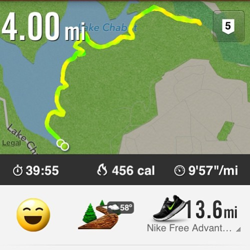 Great run around Lake Chabot with @jbataclan.  (at Lake Chabot Regional Park)