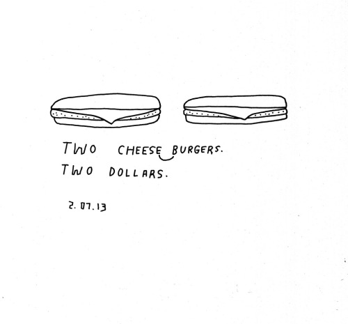 Daily Purchase Drawing for 02.07.13  Two Cheeseburgers. Two Dollars.