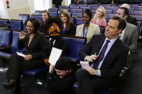 brooklynmutt:  @TheDailyShow came to the White House today (that's a puppet of Wyatt Cenac), pix by @Dharapak (via @jaketapper)  The Daily Show is my absolute favorite. (h/t Sammie for sending)
