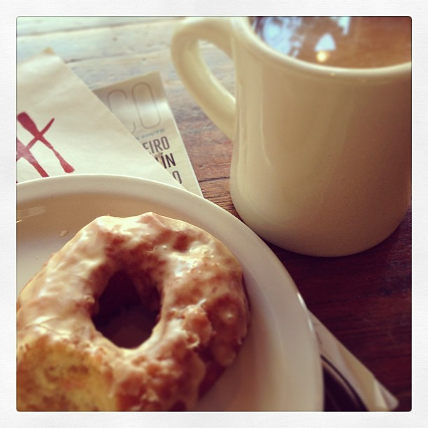 Coffee, strawberry thyme donut #food #breakfast (at Four Barrel Coffee)