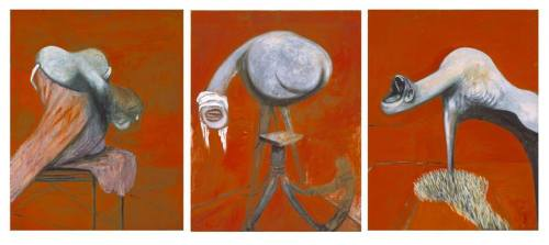 Francis Bacon, Three Studies for Figures at the Base of a Crucifixion, c. 1944