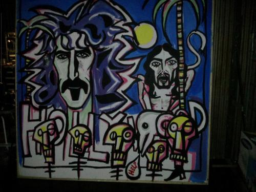 Noel Fielding's painting of Frank Zappa and Russell Brand