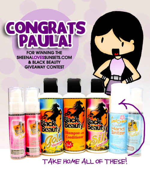 Congratulations Paula (http://tinevillano05.tumblr.com/) for winning the contest! Please email me at hello@sheenalovessunsets.com with your complete name, address and contact number.  Thanks to everyone who joined!!