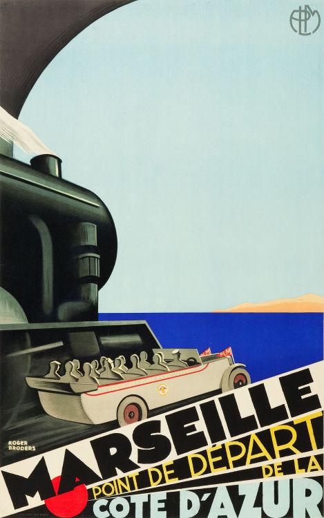 """vntgtravel: """" Marseille - Point de Départ de la Côte d'Azur Travel Poster (Paris Lyon Mediteranée Rail Line,1929) """""""
