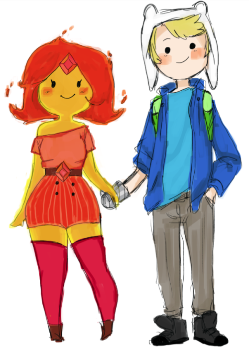 snowshu:  i really like flame princess' new do'  so here is a doodle of her and finn being fashion