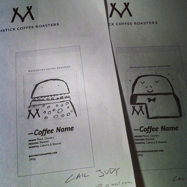 A couple submissions for the @matchstickyvr bag illustrations. #draw #coffee #matchsticklove