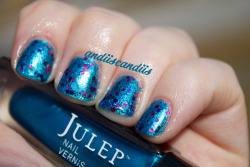 Julep mystery blue with OPI Polka.com