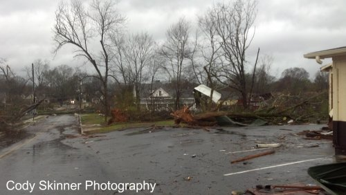 Uprooted tree among the tons of damage in Adairsville, GA