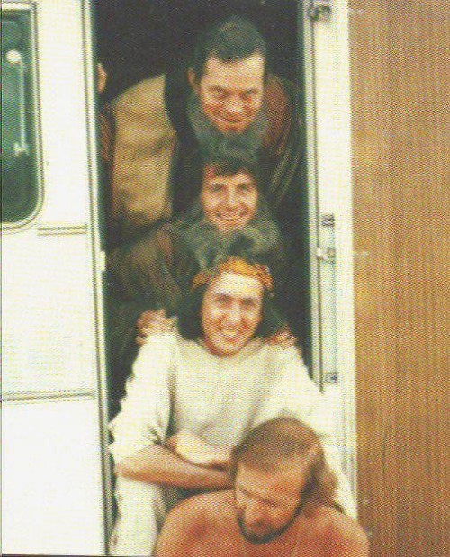 Terry Gilliam, Michael Palin, Eric Idle, and Graham Chapman during the filming of Life of Brian (1979).  (x)