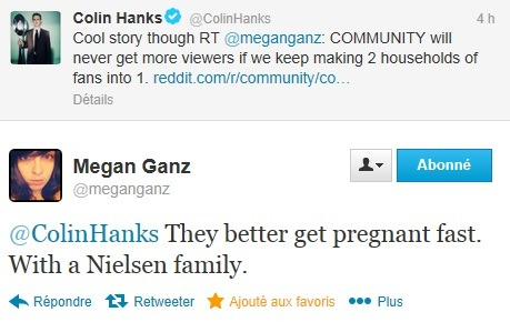 via 11starthestral:  @meganganz: COMMUNITY will never get more viewers if we keep making two households of fans into one household. [reddit] @ColinHanks: Cool story though. @meganganz: @ColinHanks They better get pregnant fast. With a Nielsen family.