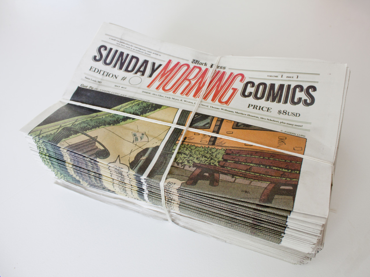 Sunday Morning Comics Volume 1: Issue 1 Available now!! A HUGE thanks to all the artists who contributed work. This is a beautiful 8-page, full-color publication offset printed on newsprint. It looks and feels amazing, and even gets a little ink on your fingers! All issues are certified genuine by our Work Press inspectors, ready to arrive at your doorstep! Order now and start enjoying comics by these great artists.