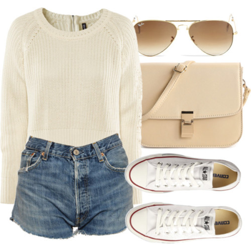 Untitled #1192 by ieleanorcalderstyle featuring ray ban opticalH&M long sleeve top, $23 / Levi's vintage denim shorts, $23 / Converse  trainers, $68 / Urban Expressions  handbag / Ray-Ban ray ban optical