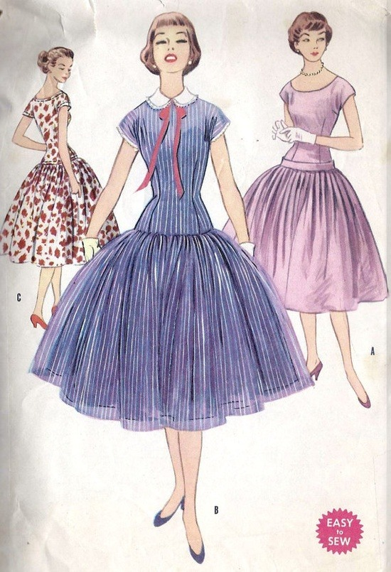 theniftyfifties:  1950s Junior drop waist dress with full skirt sewing pattern illustrations.