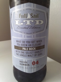 themarke:  Mini Brew Review: Full Sail LTD - 04 ABV: 7% Appearance: Clear amber with nice foamy head and good lacing. Smell: Biscuity malts and lemon grass hops. Taste: More of the buscuits and grass, with hints of chocolate. Tastes fresh, good balance. Mouthfeel: Crisp, medium bodied, and refreshing. Very slight bitter aftertaste, in a good way. The Verdict: Good stuff. A tasty, well-balanced pale bock that I managed to snag the last couple of bottles of. The LTD series is hit or miss like many seasonals, though it's usually a hit. This one is definitely a hit.