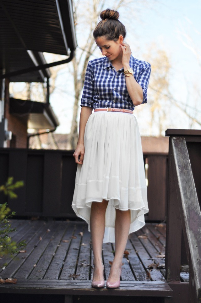 Sheer Gathered High-Low Skirt | Prudent Baby I know it doesn't look it, but this is a very easy sewing project to do! The combo of sheer fabric and elasticised waist also means it's going to be comfy and cool to wear in Summer. Oh yes, plus I love the way this is styled with the gingham shirt, so cute!
