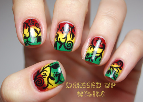 Happy 4/20 (yesterday)! Freehand floral silhouettes over a rasta color gradient (my first gradient!) Super love the way these turned out! Check out the full post for more.