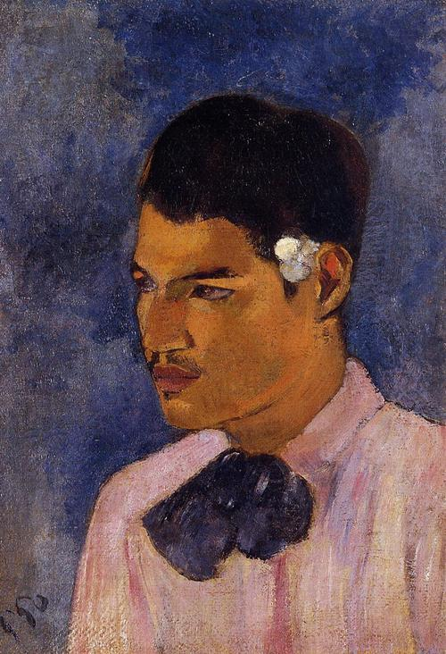 malebeautyinart:  Paul Gauguin, Young Man with a Flower Behind His Ear, 1891