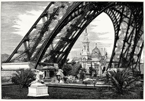 The New World exhibition, at the foot of the Eiffel Tower.  From L'Exposition universelle de 1889 (The 1889 Paris world fair) vol. 3, by Émile Monod, Paris, 1890.  (Source: archive.org)