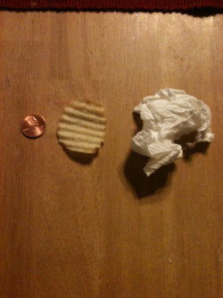 spongebob penny Valentine's Day chip indoors used napkin ...Spongebob Chip Used Napkin And Penny