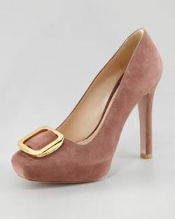 Prada Suede Square-Toe Buckle Pump via http://bit.ly/UVokUx