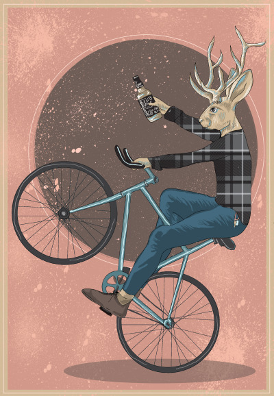 eatsleepdraw:  The Patron Saint of Richmond   The elusive Jackalope.  Very fast.  Similarly to hipsters (and just as obscure), they are attracted to and able to be slowed down enough to be caught with whiskey. The antlers are also a draw for our alternative-to-the-alternative friends…because they definitely haven't been made mainstream enough yet. Complete with Wes Anderson-esque color palette.
