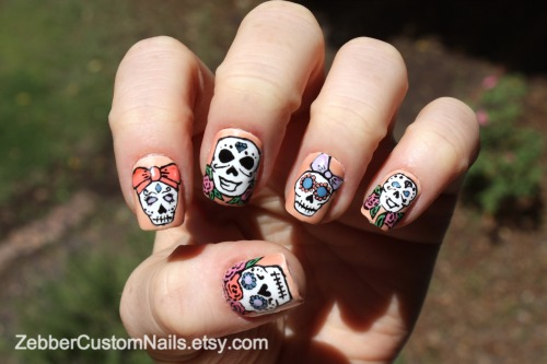 zebber:  Sugar Skulls for Cinco de Mayo - Set of 12 False Nails Available now! At my Etsy shop: Zebber Custom Nails