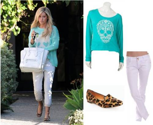 User submission from Red Light PR. Get the Look | Ashley Tisdale Steal her skull style with pieces from Modern Lux, AMI Clubwear, and ShopSosie all for under $100!  After leaving a salon in Los Angeles, CA today starlet Ashley Tisdale looked chic in all white with a pop of color! Sweater – Modern Lux – $12Jeans – AMI Clubwear – $21Flats – ShopSosie – $48
