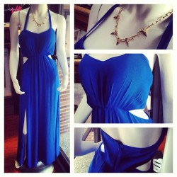 Spring trend alert🔊 and this ones got it all #royalblue  #peekaboocutouts #sideslits  #haltertop #sexy #fresh #standout  #savasstudios #shopsavas.com 💥gold spike necklace also available