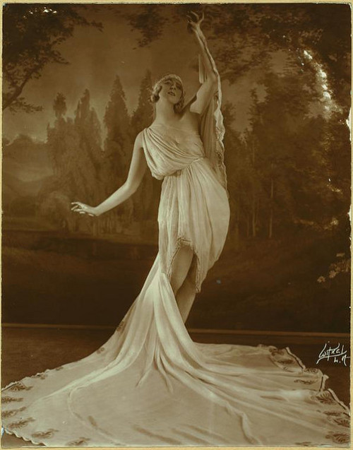 Ruth St Denis in The Greek Veil Plastique.  Used in vaudevil… by New York Public Library on Flickr.
