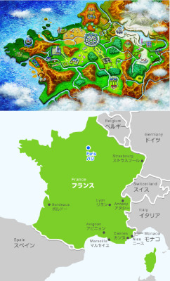 kotakucom:  The region in which Pokémon X/Y will take place looks a bit like France. Actually, it looks a lot like France.