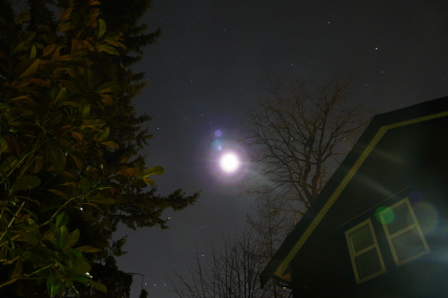 30 second exposure, camera pointed straight toward the moon. Just seeing what would happen