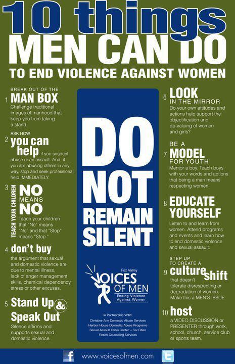 10 ways men can help end domestic violence.