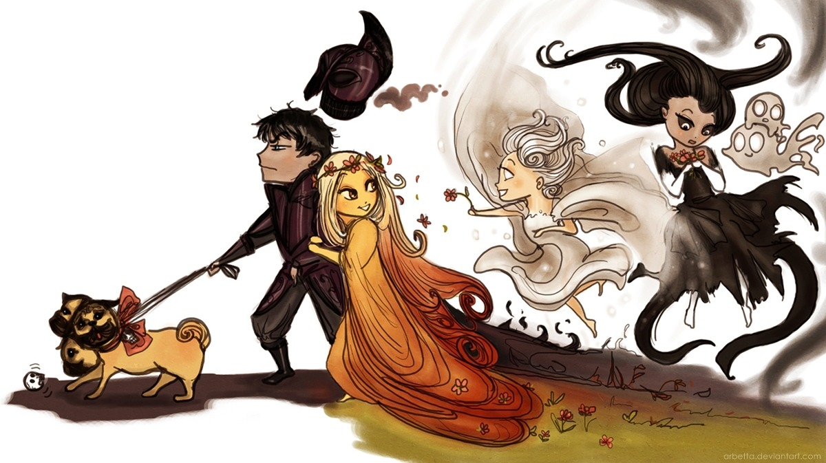twogranniesandanaxe:  The Underworld divine family coloured! :D Hades is having a great time, as you can see.