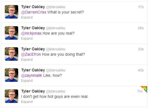 tyleroakley:  tomsandconverse:  TYYLLLLEERRR  On behalf of the Internet, I'm getting to the bottom of this.  Don't you mean you're going to bottom for this?