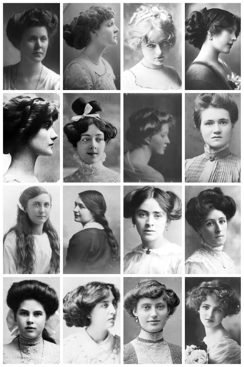 thevintagethimble:  Edwardian HairstylesA collection of Edwardian photographs, depicting some of the hairstyles of the time, like the Low Pompadour. Hatpin Hairstyle. Side-Swirls. Flapper (The title 'Flapper' originally referred to teenage girls who wore their hair in single plait which often terminated in a wide ribbon bow.) & the pompadour. Victorian Hairstyles Here [x] | 1920's Hairstyles Here [x]