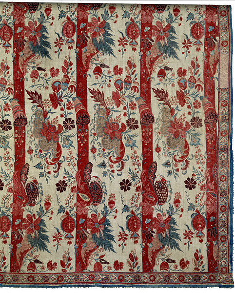 Circa 1715 to 1725, this painted and printed cotton was made on theCoromandel Coast in India for the European market. V&A. Accession Number: 342 to B-1898