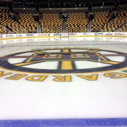 Spoked-B at center ice ready for tonight. #nhlbruins @tdgarden