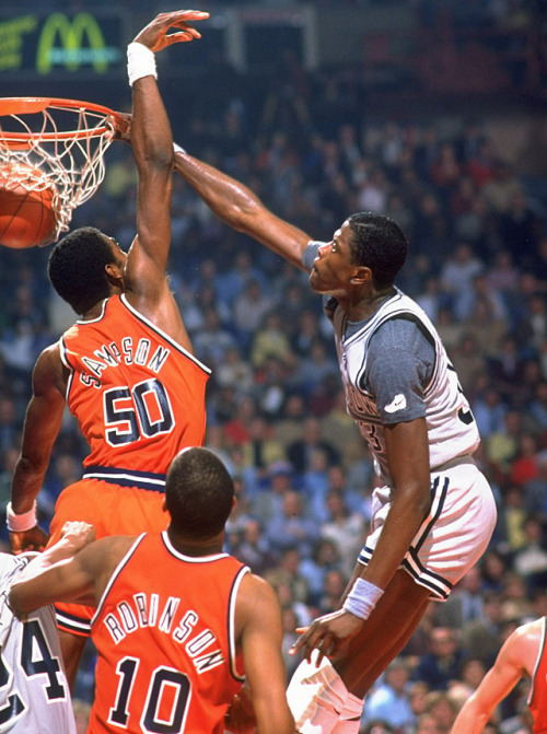 siphotos:  Patrick Ewing dunks on Ralph Sampson during a 1982 Georgetown-Virginia game. (Manny Millan/SI) GALLERY: Rare Photos of Patrick Ewing | Ralph Sampson