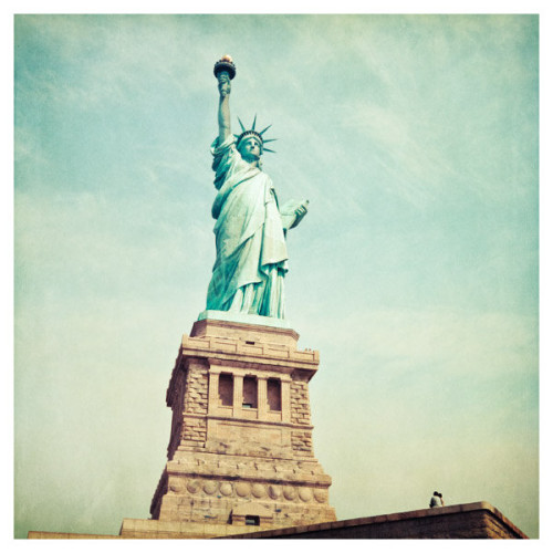 every-scar-has-a-meaning07:  Statue of Liberty photo, New York City landmark, neoclassical NYC photo, blue teal green aqua aquamarine fine art travel photography ❤ liked on Polyvore