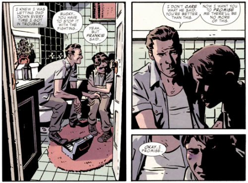 buckcap:   Captain America and Bucky #620  God, Bucky's relationship with his dad kills me. This is what makes all the difference in his life. This is the very reason Bucky is a good person and not bad. His dad is so understanding. And you later find out that he was the same way as a kid too.  That's why his last words to Buck didn't fuck up his life and start him down the wrong path. Because his dad was a good, understanding man who deeply cared for his kids. Bucky doesn't hold resentment over it because he knows that he would've made his father proud with what he did with his life. Even in spite of what he was made to do as the Winter Soldier. His dad would've been besides himself to see Bucky become Captain America.